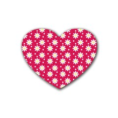 Daisy Dots Light Red Rubber Coaster (heart)  by snowwhitegirl