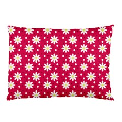 Daisy Dots Light Red Pillow Case by snowwhitegirl