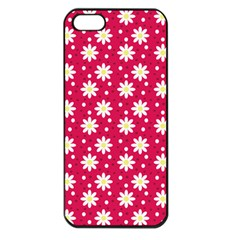 Daisy Dots Light Red Apple Iphone 5 Seamless Case (black) by snowwhitegirl