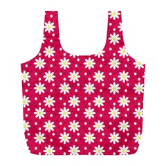 Daisy Dots Light Red Full Print Recycle Bags (l)