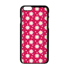 Daisy Dots Light Red Apple Iphone 6/6s Black Enamel Case by snowwhitegirl