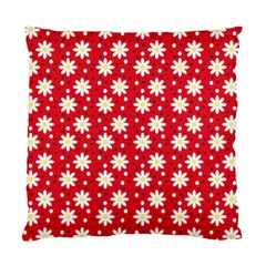 Daisy Dots Red Standard Cushion Case (one Side) by snowwhitegirl