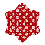 Daisy Dots Red Ornament (Snowflake) Front