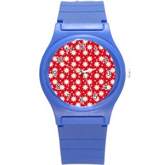 Daisy Dots Red Round Plastic Sport Watch (s) by snowwhitegirl