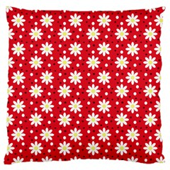 Daisy Dots Red Large Cushion Case (two Sides) by snowwhitegirl