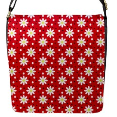 Daisy Dots Red Flap Messenger Bag (s) by snowwhitegirl