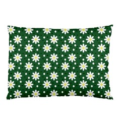 Daisy Dots Green Pillow Case (two Sides) by snowwhitegirl