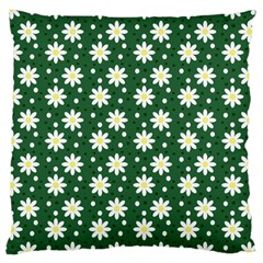 Daisy Dots Green Large Cushion Case (two Sides) by snowwhitegirl