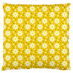 Daisy Dots Yellow Large Cushion Case (two Sides) by snowwhitegirl