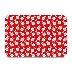 Square Flowers Red Plate Mats by snowwhitegirl