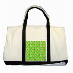 Square Flowers Green Two Tone Tote Bag by snowwhitegirl
