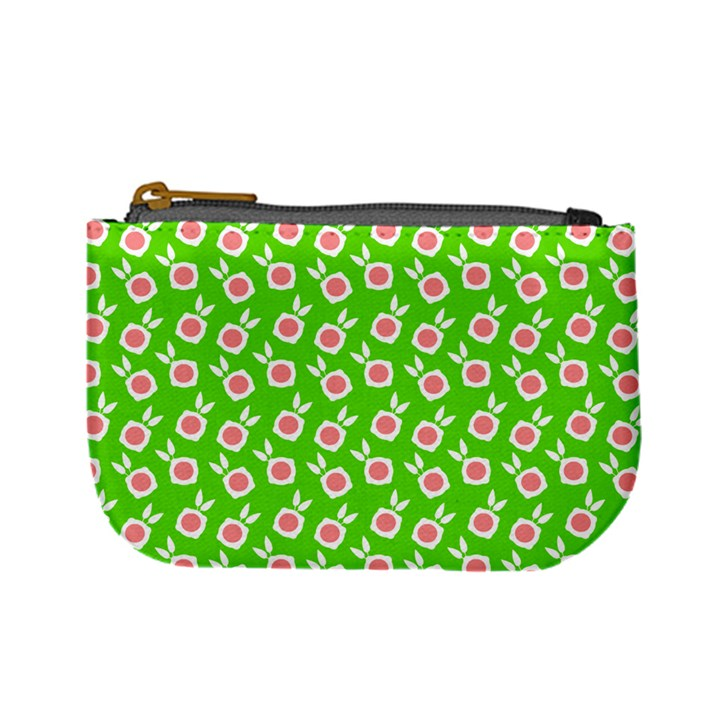 Square Flowers Green Mini Coin Purses