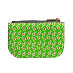Square Flowers Green Mini Coin Purses Back