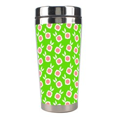 Square Flowers Green Stainless Steel Travel Tumblers by snowwhitegirl