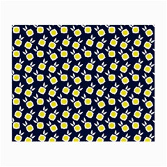 Square Flowers Navy Blue Small Glasses Cloth (2 Side) by snowwhitegirl