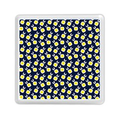 Square Flowers Navy Blue Memory Card Reader (square)