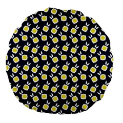 Square Flowers Navy Blue Large 18  Premium Round Cushions by snowwhitegirl