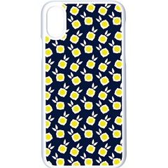 Square Flowers Navy Blue Apple Iphone X Seamless Case (white)