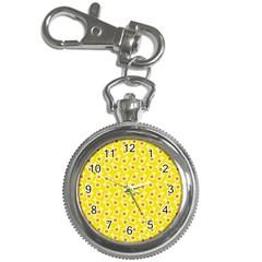 Square Flowers Yellow Key Chain Watches by snowwhitegirl