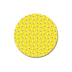 Square Flowers Yellow Magnet 3  (round) by snowwhitegirl