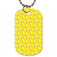 Square Flowers Yellow Dog Tag (one Side) by snowwhitegirl