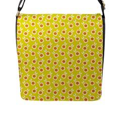 Square Flowers Yellow Flap Messenger Bag (l)  by snowwhitegirl