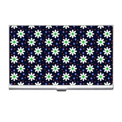 Daisy Dots Navy Blue Business Card Holders by snowwhitegirl