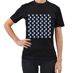 Daisy Dots Navy Blue Women s T Shirt (black) (two Sided) by snowwhitegirl
