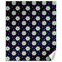 Daisy Dots Navy Blue Canvas 8  X 10  by snowwhitegirl