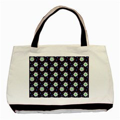 Daisy Dots Navy Blue Basic Tote Bag (two Sides) by snowwhitegirl