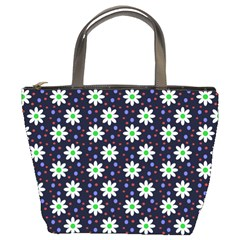 Daisy Dots Navy Blue Bucket Bags by snowwhitegirl