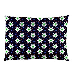 Daisy Dots Navy Blue Pillow Case by snowwhitegirl