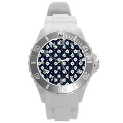 Daisy Dots Navy Blue Round Plastic Sport Watch (l) by snowwhitegirl