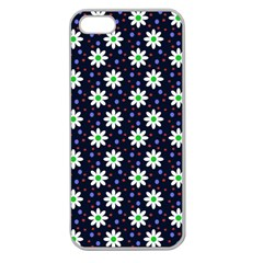Daisy Dots Navy Blue Apple Seamless Iphone 5 Case (clear) by snowwhitegirl
