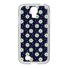 Daisy Dots Navy Blue Samsung Galaxy S4 I9500/ I9505 Case (white) by snowwhitegirl