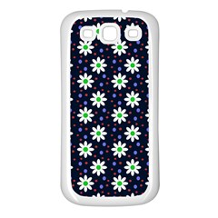 Daisy Dots Navy Blue Samsung Galaxy S3 Back Case (white) by snowwhitegirl