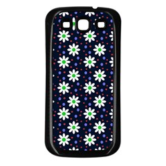 Daisy Dots Navy Blue Samsung Galaxy S3 Back Case (black) by snowwhitegirl