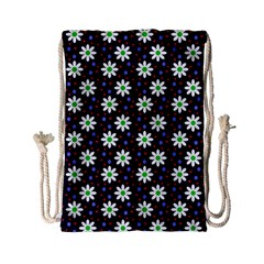 Daisy Dots Navy Blue Drawstring Bag (small) by snowwhitegirl