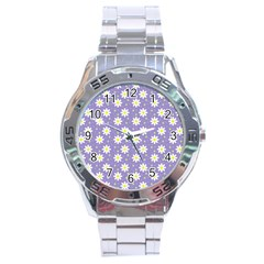 Daisy Dots Violet Stainless Steel Analogue Watch by snowwhitegirl