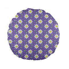 Daisy Dots Violet Standard 15  Premium Round Cushions