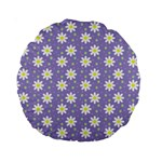 Daisy Dots Violet Standard 15  Premium Round Cushions Back