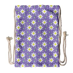 Daisy Dots Violet Drawstring Bag (large) by snowwhitegirl