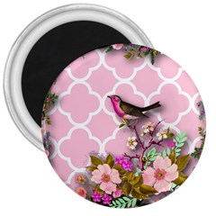 Shabby Chic,floral,bird,pink,collage 3  Magnets