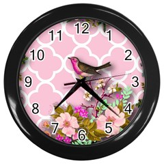 Shabby Chic,floral,bird,pink,collage Wall Clocks (black) by 8fugoso