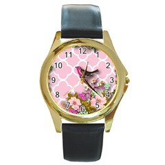 Shabby Chic,floral,bird,pink,collage Round Gold Metal Watch by 8fugoso