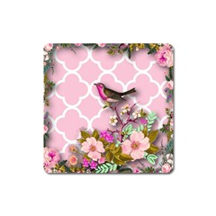 Shabby Chic,floral,bird,pink,collage Square Magnet by 8fugoso