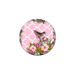 Shabby Chic,floral,bird,pink,collage Golf Ball Marker (4 Pack) by 8fugoso