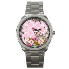 Shabby Chic,floral,bird,pink,collage Sport Metal Watch by 8fugoso