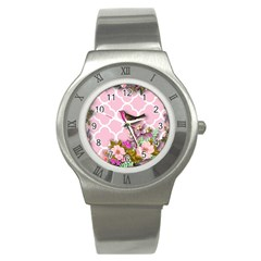 Shabby Chic,floral,bird,pink,collage Stainless Steel Watch by 8fugoso