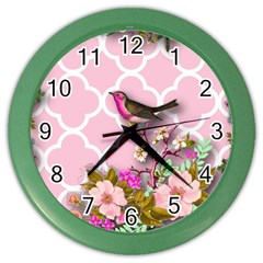 Shabby Chic,floral,bird,pink,collage Color Wall Clocks by 8fugoso